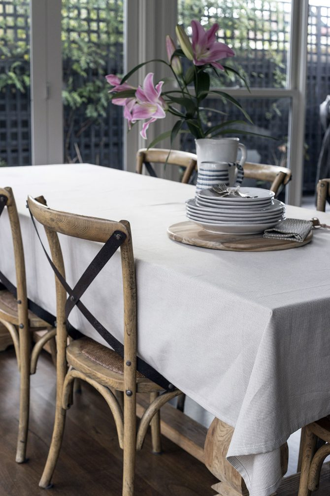 raine humble gingham tablecloth taupe