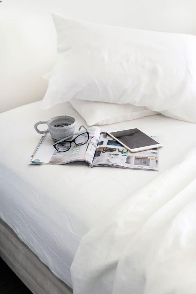 raine humble white linen queen sheet set