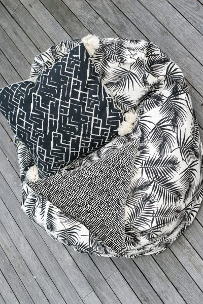 Palm print bean bag with cushion on top