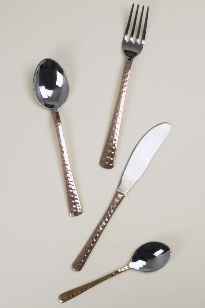 beaten copper cutlery