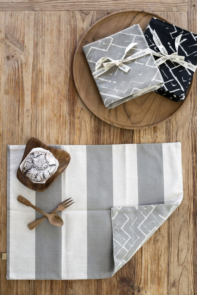block stripe taupe placemat