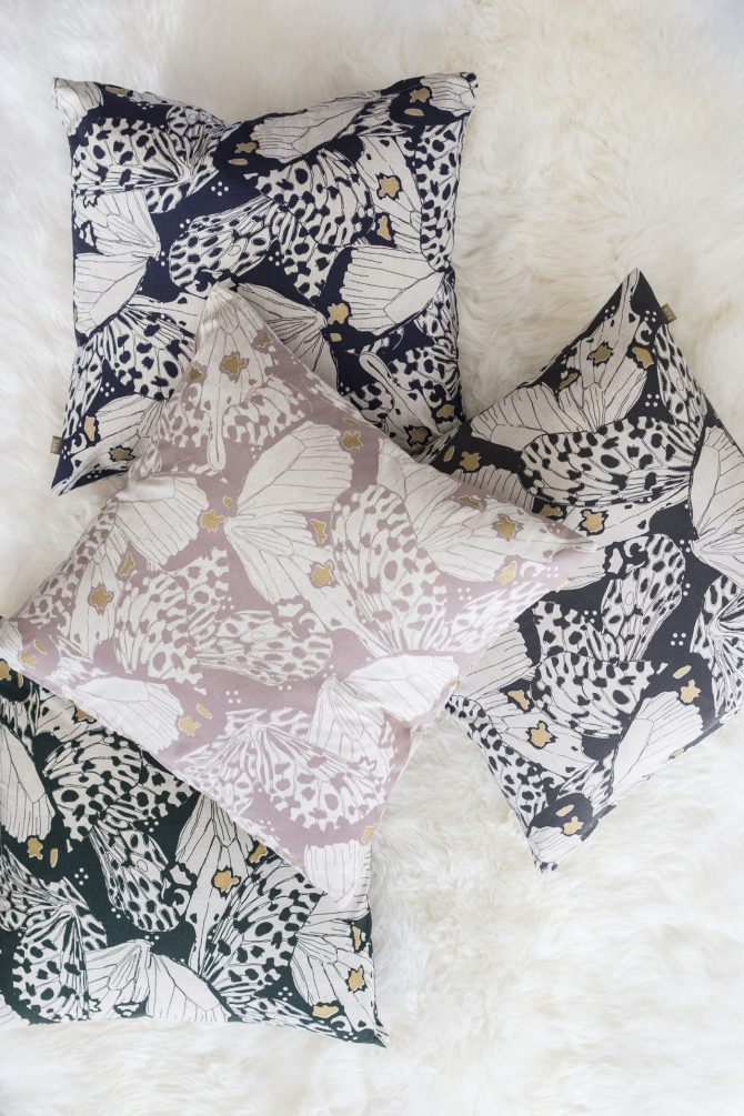 butterfly print cushion pink