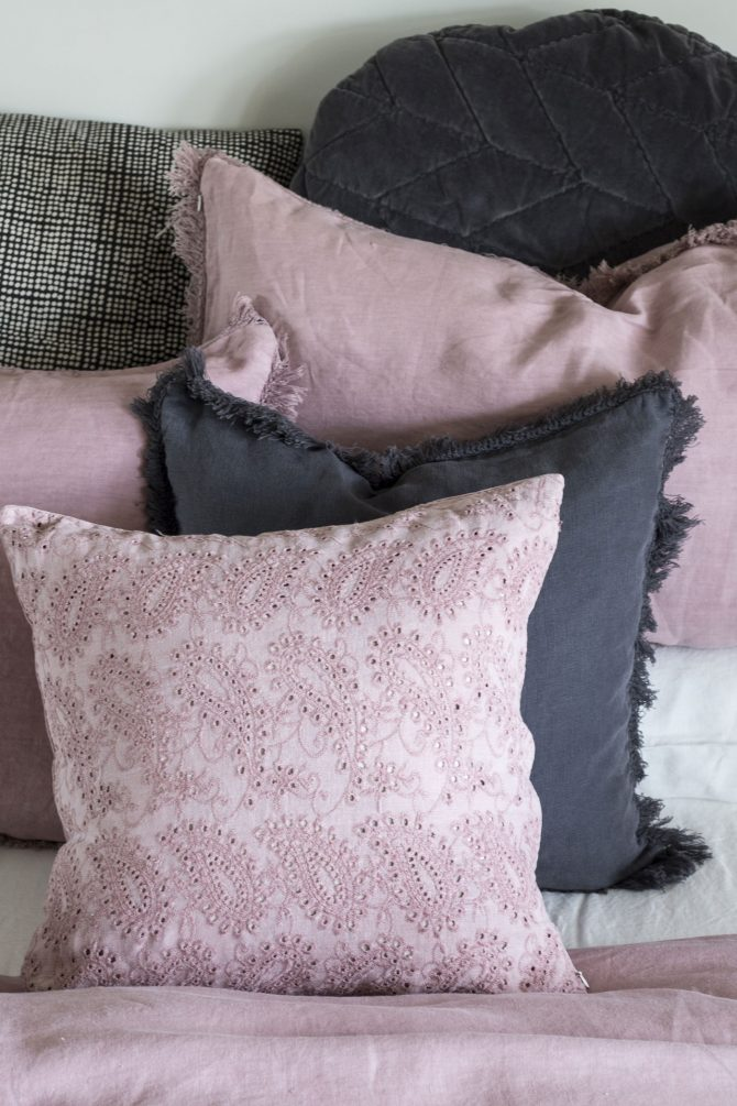 embroidered cushion rose pink