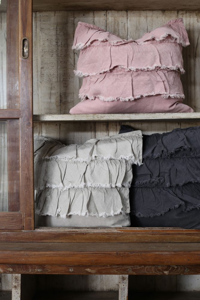 frilly linen cushion