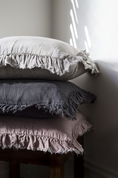 frilly linen cushions