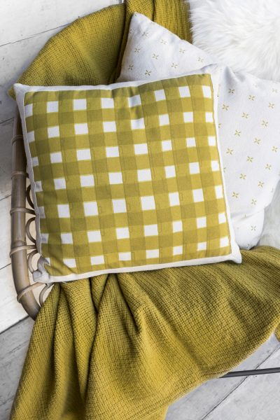 moss green check cushion