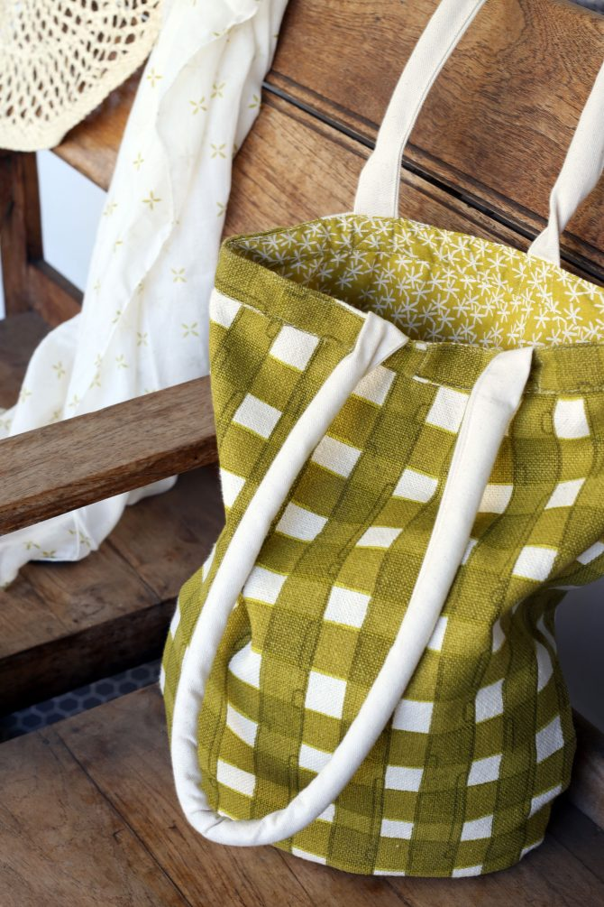 moss green check tote bag