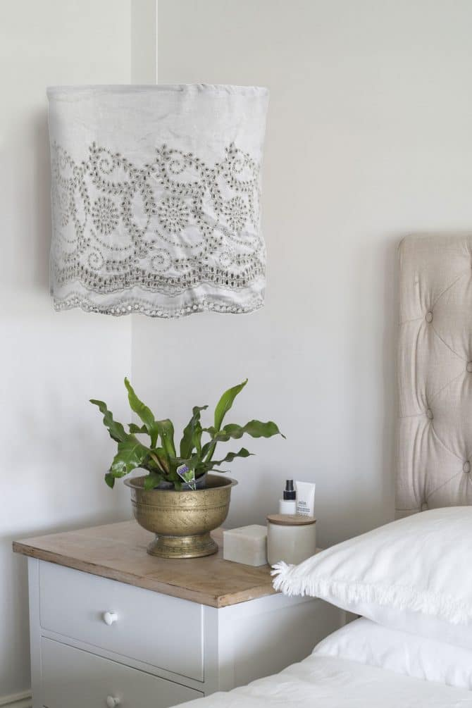 taupe embroidered linen light shade
