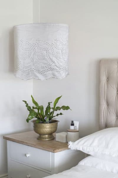 white embroidered linen light-shade