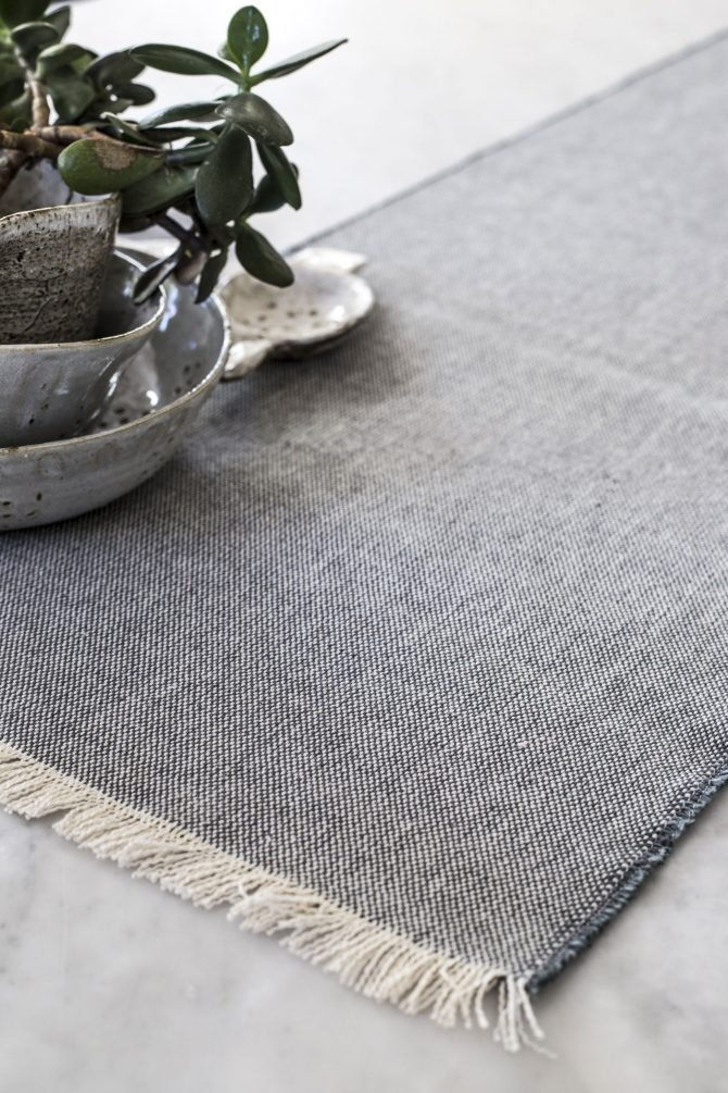 fringed charcoal tablerunner